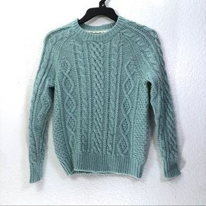 Ochirly Cable Knit Crew Neck Sweater